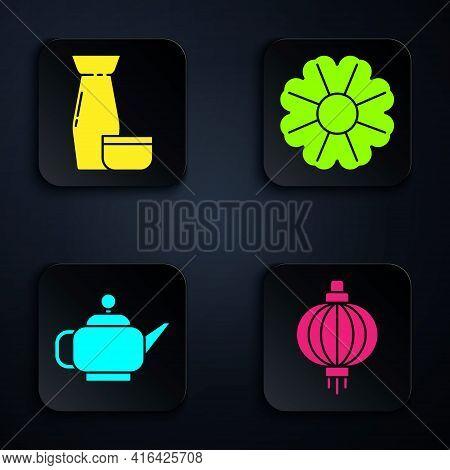 Set Japanese Paper Lantern, Traditional Japanese Tea Ceremony, Japanese Tea Ceremony And Flower. Bla
