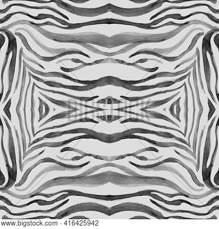 Seamless Zebra Pattern. Watercolour Print. Grey Abstract Wild Wallpaper. Safari Stripe Design. Zebra