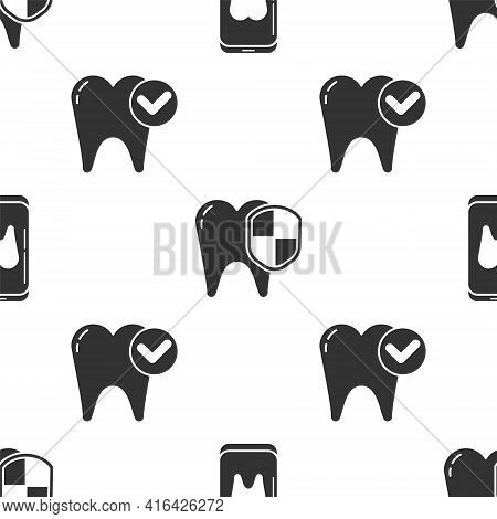 Set Online Dental Care, Dental Protection And Tooth Whitening Concept On Seamless Pattern. Vector