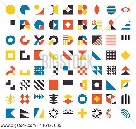 Bauhaus Elements. Modern Geometric Abstract Shapes In Minimal Style. Brutalism Basic Forms, Lines, E