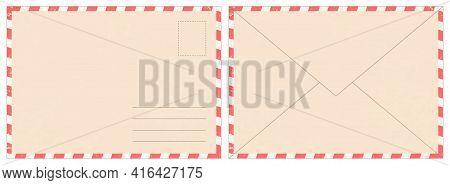 Blank Retro Postal Envelope. Old Vintage Air Mail Letter. Craft Paper Correspondence Envelopes Back