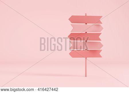 Crossroads Signpost In Pastel Pink Colors. 3d Rendering