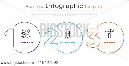 Set Line Space And Planet, Space Shuttle And Rockets And Telescope. Business Infographic Template. V