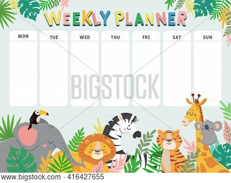 Weekly Planner For Kid. Child Schedule For Week With Tropical Jungle Animals And Plants. Calendar Fo