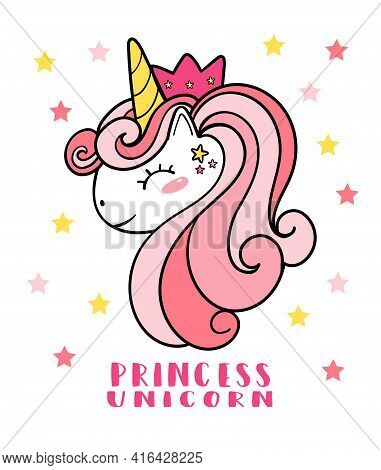 Cute Pink Pony Unicorn Face Head With Crown, Princess...