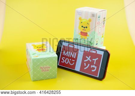 Bangkok, Thailand - April 11, 2021 : Winnie The Pooh Figures Mystery Box Blind Box Collection Is Ran