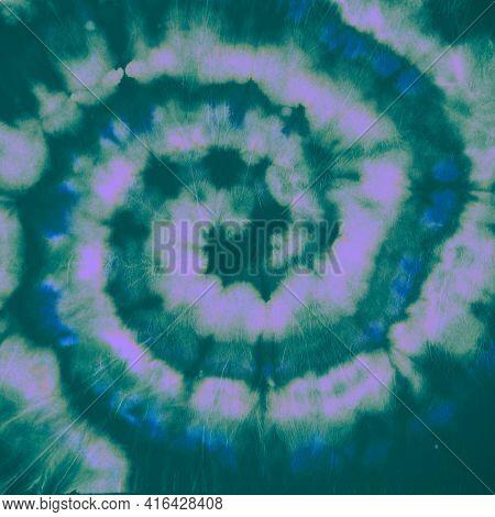 Tie Dye Spiral. Blue Batik Shirt. Tie-dye Art Background. Hippie Psychedelic Painting. Artistic Mult