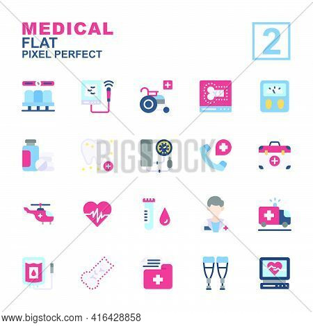 Icon Set Medical Made With Flat Color Technique, Contains A Usg, Electrocardiogram, Dentist, Wheel C
