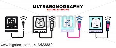 Ultrasonography Icon Set With Different Styles. Icons Designed In Filled, Outline, Flat, Glyph And L