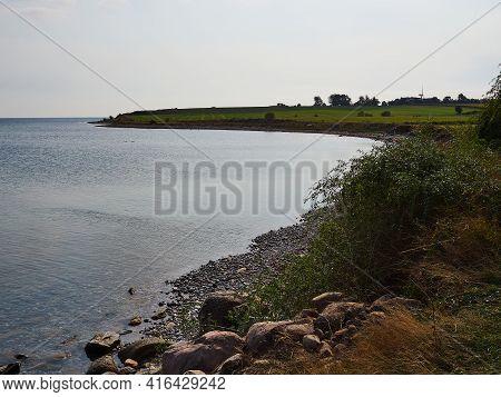 Typical Beautiful Natural Danish Coastline Beach Landscape In The Summe Aero Island Fyn Funen Denmar