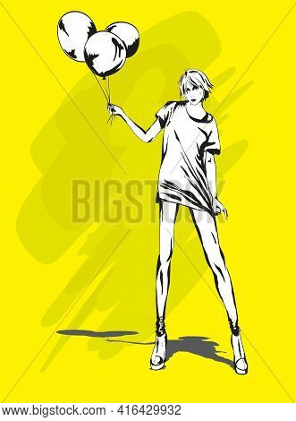 Beautiful Young Woman With Balloons In A Fashionable Blouse, On A Yellow Background. Fashion Hand Dr