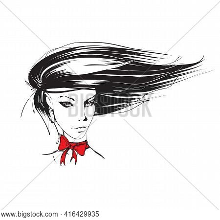 Hand-drawn Face Of A Beautiful Young Woman With A Red Bow. Fashion. Beautiful Face Of A Woman. The S