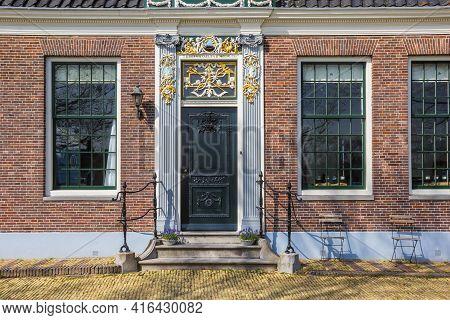 Zaanse Schans, Netherlands - March 31, 2021: Entrance To A Historic House In Zaanse Schans, Netherla