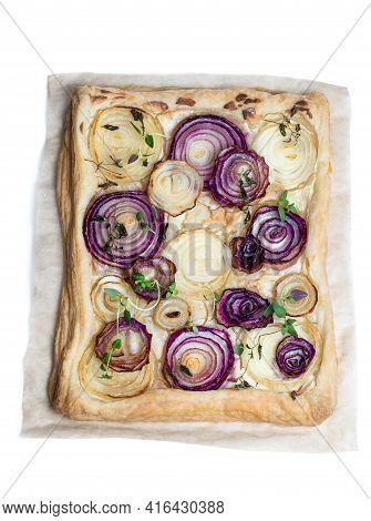 French  Onion Tart Isolated On White Background