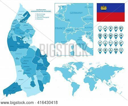Liechtenstein Detailed Administrative Blue Map With Country Flag And Location On The World Map. Vect