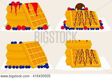 Illustration On Theme Ice Cream On Waffle With Cell, Dessert Appetizing Cookie. Waffle Consisting Of