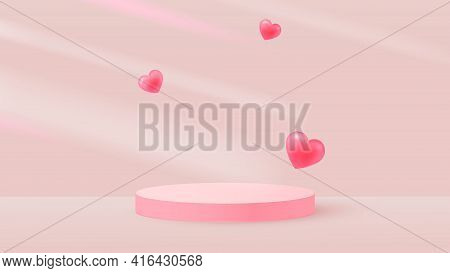 Minimalistic Scene With Pink Cylindrical Podium And Flying Hearts. Falling Shadows. Scene For The De