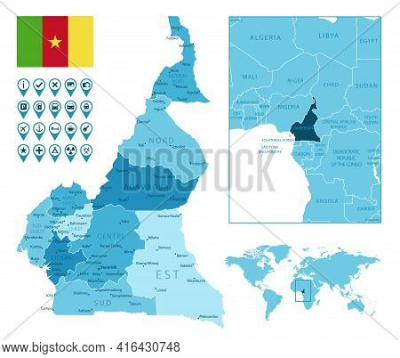 Cameroon Detailed Administrative Blue Map With Country Flag And Location On The World Map. Vector Il
