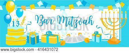Bar Mitzvah Invitation Or Congratulation Card. Jewish Holiday, 13 Year Old Boys Birthday Vector Illu