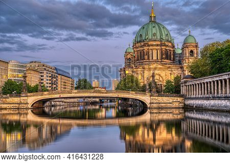 The Berlin Cathedral, The Museum Island And The River Spree At Dusk
