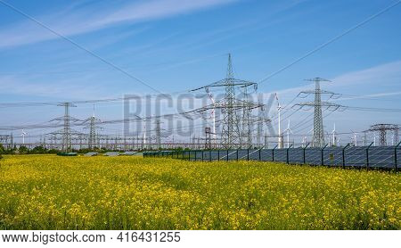 Solar Panels, Power Lines And Wind Turbines Seen In Germany