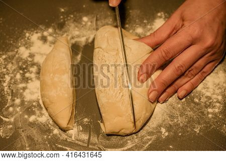 Women's Hands Kneading Dough For Baking. Woman's Hands And Dough. Dough, Cooking