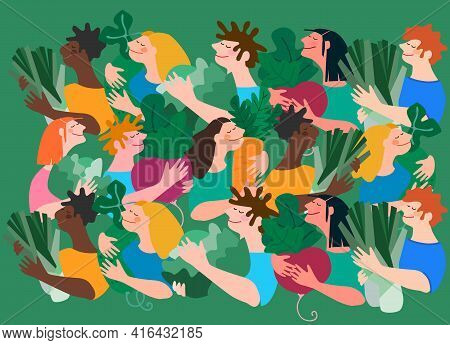 Happy Multiracial People Holding Giant Vegetables. Vector Background. Concept Of Harvesting, Agritou