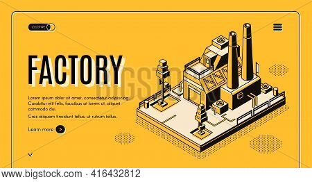 Heavy Industry Company Isometric Vector Web Banner With Industrial Production Factory Or Energy Gene