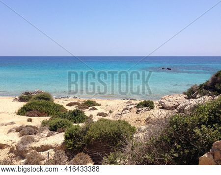 Famous Golden Beach Situated At The End Of Karpaz Peninsula On Cyprus , North Side, Blue Clean Cryst