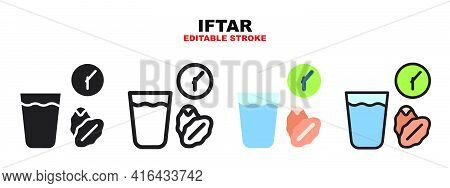 Iftar Icon Set With Different Styles. Icons Designed In Filled, Outline, Flat, Glyph And Line Colore