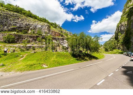 Editorial, Cheddar Gorge And Public Road On Sunny Day.