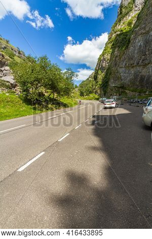 Editorial, Cheddar Gorge And Public Road On Sunny Day, Portrait