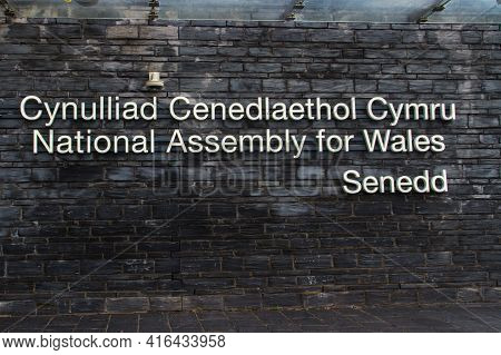 Editorial, Sign For The Welsh Parliament Or Senedd Cymru Building, Wales, United Kingdom