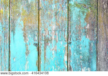 Vertical Wooden Planks Background With Teal Blue And Yellow Colored Old Weathered Planks With Chippe