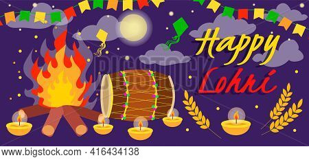 Punjabi Festival Of Lohri Celebration Bonfire, Vector Banner Or Flyer With Fire And Decorated Drum.
