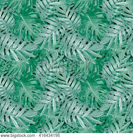 Tropical Leaves, Jungle Monstera Leaf Seamless Floral Green Pattern Background.