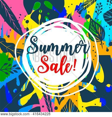 Summer Sale Banner. Trendy Tropical Template Vector Illustration