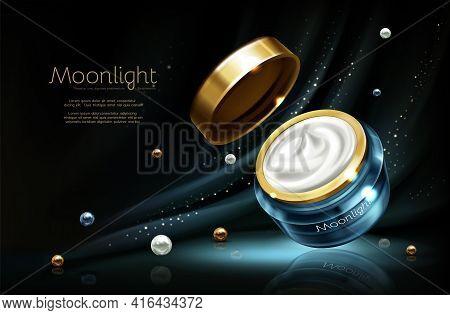 Vector 3d Realistic Cosmetic Advertising Mock Up - Night Cream In Jar, Luxury Cosmetics.moisturizing