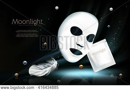 Vector 3d Realistic Banner With White Sheet Facial Cosmetic Mask, Sachet. Skincare Poster, Mock Up W