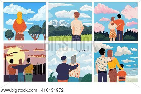 People Looking Forward. Men And Women Admiring Scenery. Old Or Young Characters Spend Time Outdoor.
