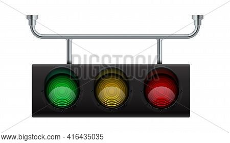Traffic Light. Realistic City Stoplight. 3d Hanging Electric Equipment For Regulation Transport Movi