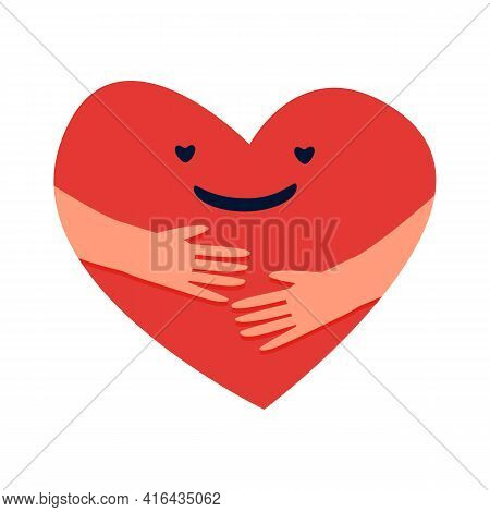 Cartoon Hugged Heart. Love Yourself Concept. Red Symbol With Smiling Face In Embrace. Romantic Valen