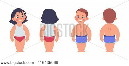 Cartoon Kids In Underwear. Children From Front Or Back Sides. Isolated Standing Boy And Girl Wearing