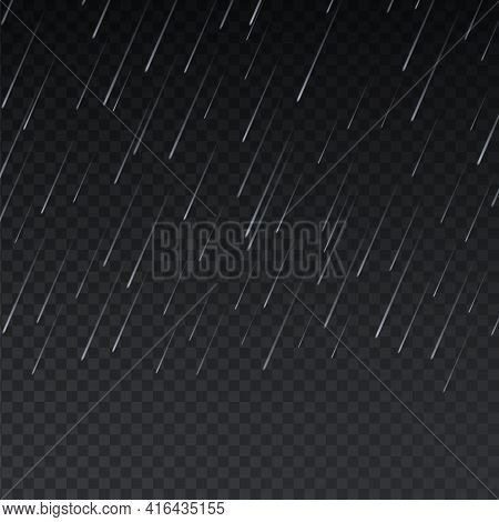 Realistic Rain. Rainy Texture On Transparent Background. Downpour Effect. Natural Streams Of Pure Wa