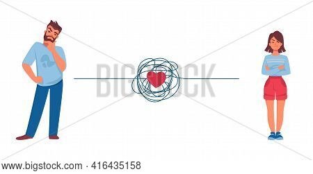 Relationship Problem. Couple Conflict Concept. Quarreling Man And Woman. Red Heart And Tangled Threa
