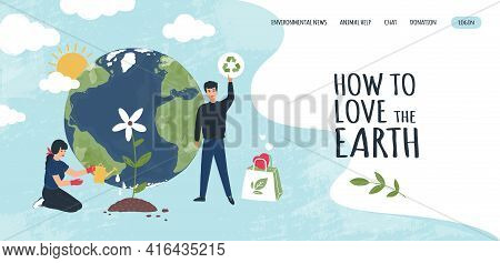 Earth Recycle Landing Page. Website Interface. World Environment Ecology And Rubbish Recycling Compa
