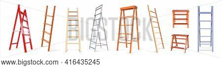 Ladder Construction. Realistic Wooden And Metal Staircase Equipment, 3d Stepladder Collection. Isola