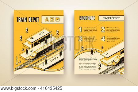 Vector Brochure Template For Train Depot. 3d Isometric Vehicle On Railroad And Station. Booklet In T