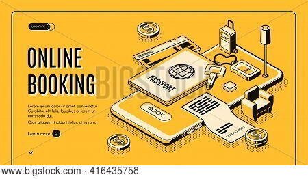 Booking Tickets, Reserving Hotel Room Online Service Isometric Vector Web Banner, Landing Page. Pass