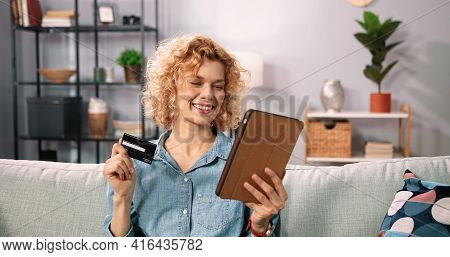 Internet Banking, Online Shopping And Technology Concept. Portrait Of Happy Smiling Caucasian Woman